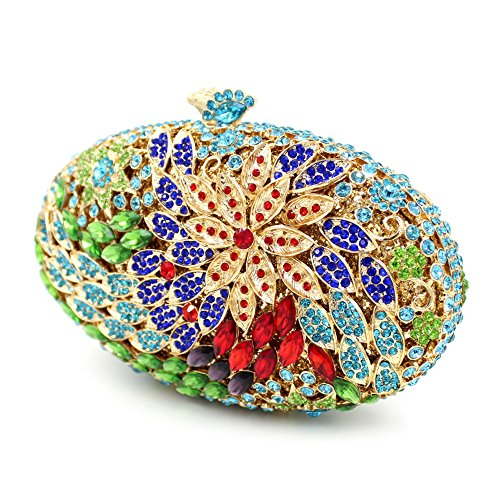 Damen Clutch Abendtasche Handtasche Geldbörse Groß Glitzertasche Strass Blume Oval Tasche mit wechselbare Trageketten von Santimon(9 Kolorit) Grün 01