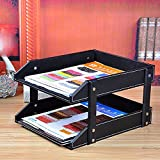 Artikle Leather Wall Literature Holder File Holder Scratch-resistant Front-Load Letter Filing Trays Desk Organizer Tray,File Rack Office Desk Storage Box A4 File Box Bookshelf,Black Two-Story File Frame