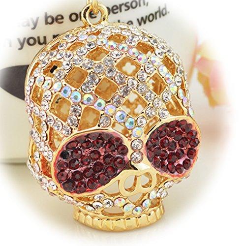 Sweet Home a forma di animale strass Diamante Ciondolo portachiavi borsa per donne e ragazze, Skull