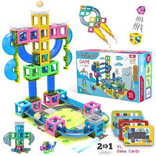 Hippococo Bloques de Construcción Magnéticos 3D: Circuito de Canicas Duradero, Robusto y Seguro, Fomenta la Creatividad e Imaginación, Juguete Educativo Stem Innovador para Niños y Niñas (60 Piezas)