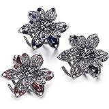3 Pezzi Per Capelli a Forma di Farfalla Con Metallo e Cristalli Fermacapelli Vintage in Metallo Cristallo,Forcina in Metallo