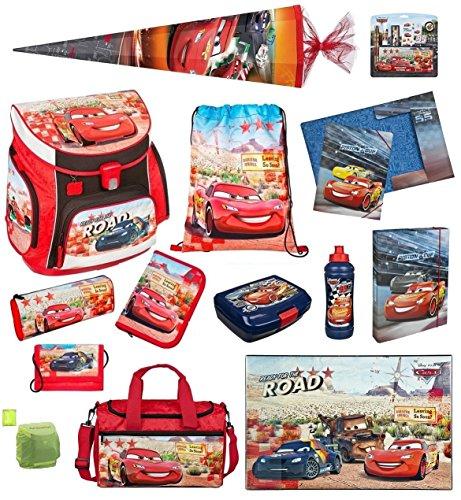 Familando Disney Cars Schulranzen-Set 21-tlg. Federmappe, Sporttasche, Schultüte 85cm Scooli mit Regenschutz