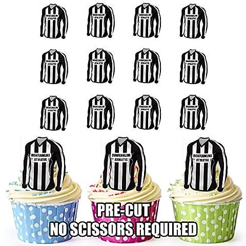 prédécoupés Dunfermline Athletic maillots de football comestible pour cupcakes/gâteau Décorations (lot de 12)