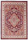 Traditioneller Klassischer Teppich für Ihre Wohnzimmer - Rot Creme Beige - Perser Orientalisches Heriz Keshan Muster - Blumen Ornamente - Top Qualität Pflegeleicht