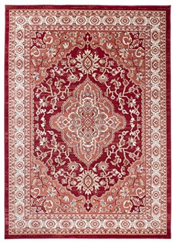 """Traditioneller Klassischer Teppich für Ihre Wohnzimmer - Rot Creme Beige - Perser Orientalisches Heriz Keshan Muster - Blumen Ornamente - Top Qualität Pflegeleicht \"""" AYLA \"""" 60 x 100 cm Klein"""