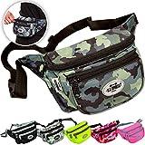 C.P. Sports Gürteltasche, Bauchtasche, Hüfttasche in 9 Farben - Doggy Bag, Waistbag für Damen und Herren Sport und Outdoor (Camouflage-Pink)