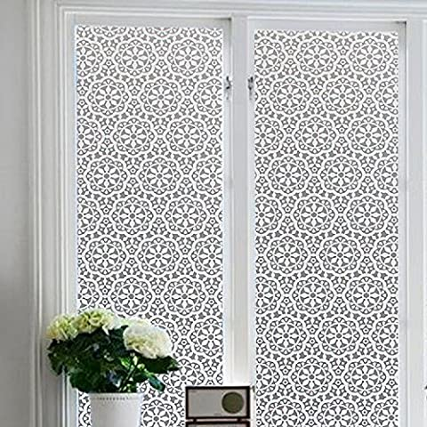 Zanbringe 17.7x78.7 Inches(45x200CM) Non-Adhesive Gemometric Flower Static Cling Privacy Window