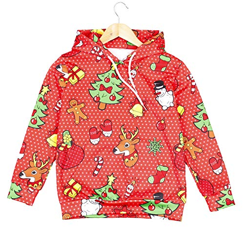 Ruanyi Weihnachten Anime Hoodies Sweatshirts Tops Hosen Hosen Kostüm Punk Hip-Hop Street Festival Baum Elch Schneemann Geschenk Candy Kinder Pullover Zweiteilig (Color : Hoodie, Size : (Baum Geist Kostüm)