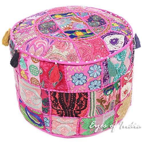 Eyes of India 17 x 12 rosa Patchwork rund Pouf Pouffe Ottomane Deckel Boden Sitz unkonventionell Boho indisch - pink #43