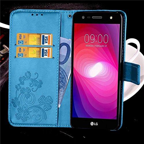 LEMORRY LG X Power2 Custodia Pelle Cuoio Flip Portafoglio Borsa Sottile Bumper Protettivo Magnetico Morbido Silicone TPU Cover Custodia per LG X Power 2 / LG X Charge / M320G, Clover fortunato (Grigio Blu