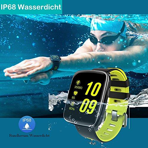 YAMAY Smartwatch Wasserdicht IP68 Smart Watch Uhr mit Pulsmesser Fitness Tracker Sport Uhr Fitness Uhr mit Schrittzähler,Schlaf-Monitor,Stoppuhr,Call SMS Benachrichtigung Push für Android und iOS - 5