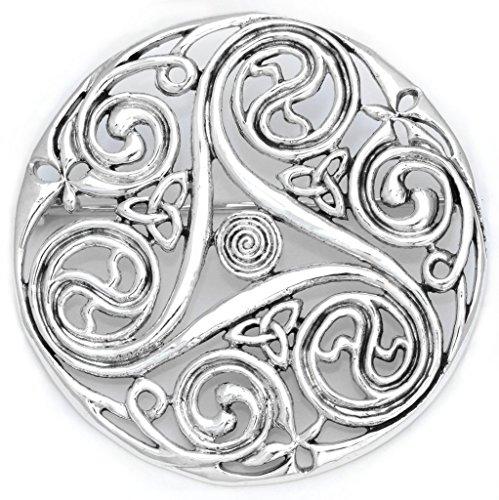 Windalf Große Boho Brosche NEWGRANGE Ø 4.9 cm Celtic Triskele mit Lebens-Spiralen 925 Sterlingsilber