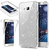 Coque Galaxy S3,Coque Galaxy S3 Neo,ikasus Intégral 360 Degres avant + arrière Full Body Protection Bling Brillant Glitter Transparent Silicone Gel Case Coque Housse Etui pour Galaxy S3/S3 Neo,Argent
