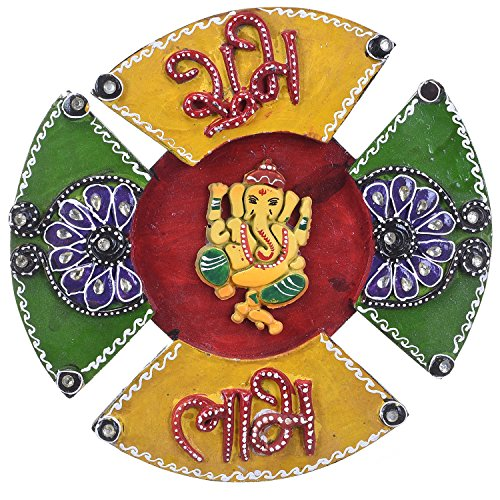Decorative Wooden Handicraft Home Decor Wall Hanging Ganesha with Shubh Labh by Shree Sugandh  available at amazon for Rs.399
