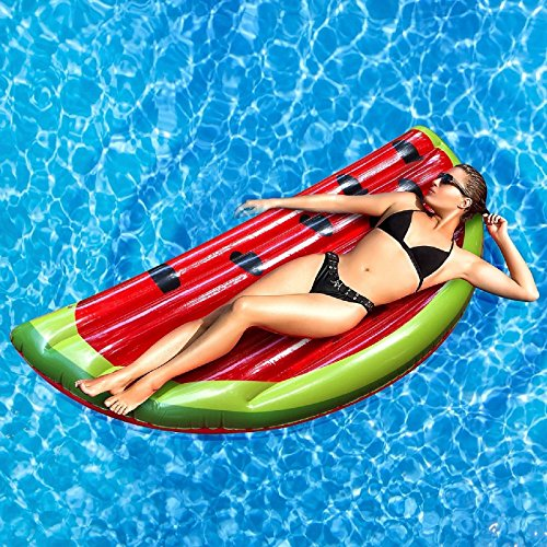 Pool Mat (Rexco 2005438 Aufblasbare große Wassermelone Slice Fruit Island Beach Float Lounger Swimming Pool Jumbo Air Mat Wassersport Fun Toy Raft Lilo, Mehrfarbig)