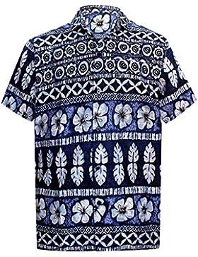 *La Leela* Shirt Camicia Hawaiana Uomo XS - 5XL Manica Corta Hawaii Tasca-Frontale Stampa Hawaiano Casuale Regular...