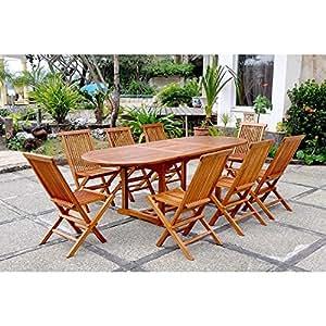 Concept Usine 1723.0 Patna Ensemble de Table Ovale 240 cm + 8 Chaises 10/12 Personnes Teck Huilé 180 x 90 x 75 cm