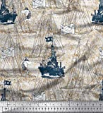 Soimoi Blau Poly Krepp Stoff Fisch & Schiff Ozean Stoff
