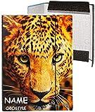 """Heftordner / Ordner / Heftbox - A4 - """" Gepard - Leopard - Geo Style """" - incl. Name - für Hefte, Zettel und Mappen - Glanz Druck - Gummizugmappe & Heftmappe - Mappe & Box - Ordnermappe / Ordnungsmappe Hefter - A 4 - Erwachsene - Kinder Jungen Mädchen - Tiere - Löwe Tiger / Afrika / Zootiere - Tier - Papierbox & Sammelbox - Gummimappe"""