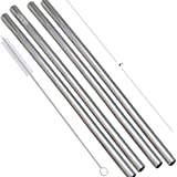 Prisha India Craft Eco-Friendly Stainless Steel Plain Drinking Straight Straws, Best for Parties, Barware,   Set of 4   Lengt