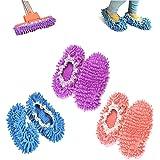 chaussons mop,kitteny 3 Paires Multifonction Microfibre Poussière Mop Chaussures Chaussons De Nettoyage Pour La Maison, 3 Cou