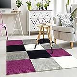 VIMODA Moderner Designer Teppich Kariert Hoch Tief Strukturen Lila Grau Weiß Schwarz ; Maße: 120x170 cm
