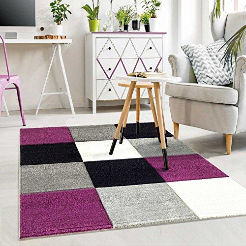 Moderner Designer Teppich Kariert Hoch Tief Strukturen Lila Grau Weiß Schwarz - VIMODA, Maße:60 cm x 110 cm
