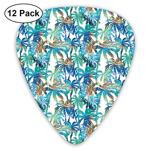 Metallic Abstract Print (Guitar Picks - Abstract Art Colorful Designs,Tropical Summer Print With Palm Abstract Nature Pattern Fantasy Dream,Unique Guitar Gift,For Bass Electric & Acoustic Guitars-12 Pack)