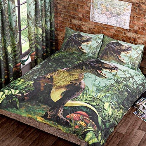 Just Contempo Jurassic Park Inspiriert Dinosaur T Rex Bettdecke - Kinder Betten Bett Satz Mehrfarbig Eltern - Mehrfarbig, Einzelbett -