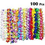 BangShou 36er, 50er, 100er Hawaiikette Blumen Halskette Girlanden Lei für Kleid, Party , Strand und Geburtstagsparty (100)