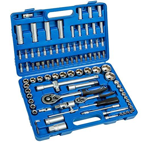 Preisvergleich Produktbild TecTake 94 tlg. Knarrenkasten Nusskasten Ratschenkasten 1/4 und 1/2 Zoll Steckschlüssel Set