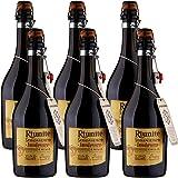 Lambrusco Emilia IGT | Riunite Senzatempo | Vino Rosso Frizzante | Fiaschetto con Tappo in Sughero | 6 Bottiglie 75cl | Idea