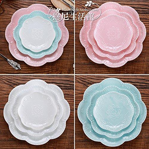 YUWANW Tortenplatte/Dessertteller / Steakschale/Spitze, rund, Motiv Schmetterling/Blumen, klein,...