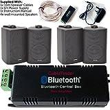 Kabellos/Bluetooth Verstärker & 4x 60W schwarz Wand montiert Lautsprecher Kit–HiFi-Aktiv AMP–Stream Audio Qualität Musik Home System