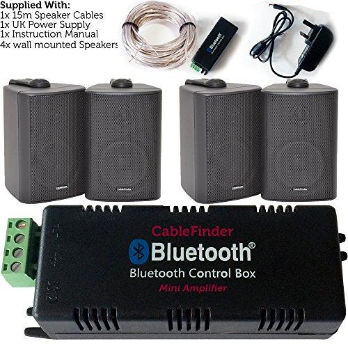 Kabellos/Bluetooth Verstärker & 4x 60W schwarz Wand montiert Lautsprecher Kit-HiFi-Aktiv AMP-Stream Audio Qualität Musik Home System Audio-qualität