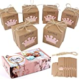 AerWo 50pcs Little Princess Baby Shower Favor Boxes + 50pcs Twine Bow, Rustic Kraft Paper Candy Bag Gift Box for Baby Shower