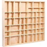 Alsino Vitrine murale en bois de pin naturel non traité - Environ 45,7 x 52 x 3,6 cm - 51 compartiments…