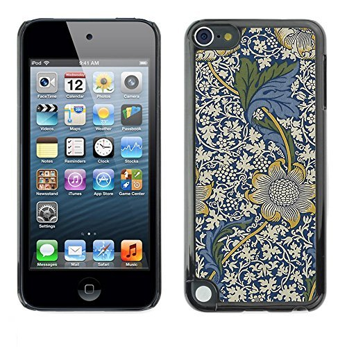 Soft Silicone Rubber Case Hard Cover Protective Accessory Compatible with Apple IPod? Touch 5 - blue floral pattern white flowers
