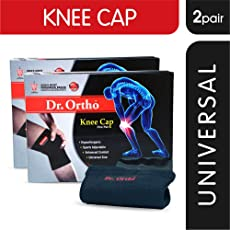 Dr Ortho Knee Cap (2 Pairs, Black, Universal Size) - Knee Cap for Men & Women Knee Support, Gym, Sports, Basketball, Cycling, Exercise, Workout, Injury, Jogging, Running