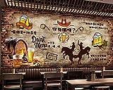 Xcmb Papier Peint 3D Vintage Mur De Briques Bière Bar Restaurant Fond Mur Frit Magasin De Poulet Frit Murale Pas Cher Personnalisé 3D Wallpaper-300Cmx210Cm