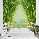 Apalis Vliestapete Bamboo Way Fototapete Bambus Quadrat | Vlies Tapete Wandtapete Wandbild Foto 3D Fototapete für Schlafzimmer Wohnzimmer Küche | Größe: 240x240 cm, grün, 97502