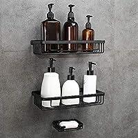 GERUIKE Adhesive Shower Caddy Bathroom Organizer Kitchen Spice Rack Wall Mounted Drill-Free Bathroom Shower Shelf Storage Kitchen Rack