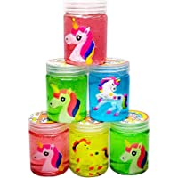 Fete Propz Pack of 6 Unicorn Slime with Unicorn Inside   Soft & Squishy Stress Relief Party Favor Toy for Kids