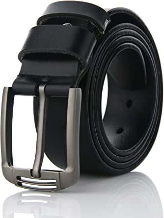 Men's Belt,FYDRISE Genuine Leather Belts for Jeans Unique Stylish Buckle Gift for Father's Day