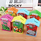 [Sponsored]Shopkooky Piggy Bank For Kids Wood House Animal Designs, Multi Color Perfect Return Gift For Kids Birthday Party (Pack Of 6)