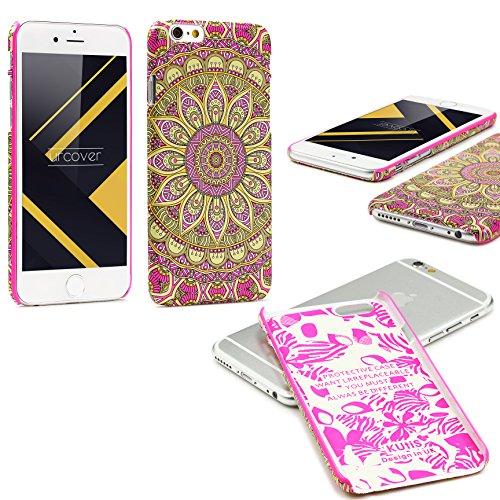 Urcover® Apple iPhone 6 / 6s Schutzhülle mit Mandal-Design in Hell Blau Colorful Mandala Backcase Cover Smartphone Zubehör TPU Schale Pink