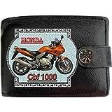 HONDA Cbf 1000Gold Bild auf KLASSEK Marken RFID Herren Geldbörse Portemonnaie Echtes Leder Motorrad Bike Zubehör Geschenk mit Metall Box NICHT OFFIZIELLE HONDA Produkte