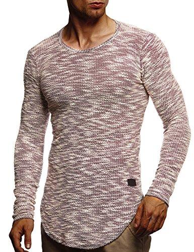LEIF NELSON Herren Pullover Longsleeve Hoodie Kapuzenpullover Basic Rundhals Sweatshirt Hoodie Hoody Sweater LN6358; (Weste Herren-pullover Rot)