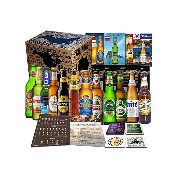 12x BIERE DER WELT, Geschenkidee für Mann zum Geburtstag, Vatertag, Ostern, Geschenkkarton + Tasting Anleitung + 12 x…