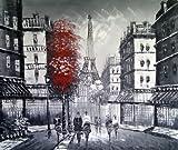 Paris Straßenszene mit Eiffelturm. Kunst Öl auf Leinwand Gemälde - Hervorragende Qualität und Handwerkskunst, handgefertigte Wandkunst